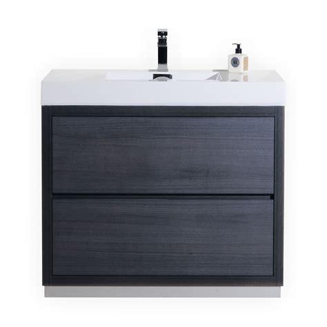 vanity floor bliss 40 quot gray oak floor mount modern bathroom vanity