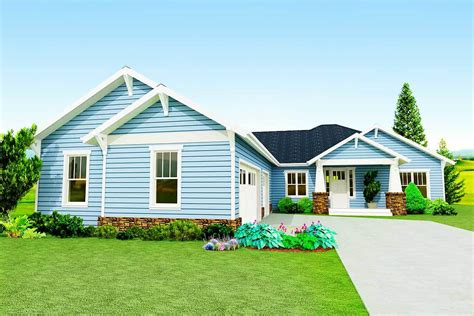 craftsman ranch  courtyard entry garage ph architectural designs house plans