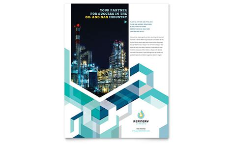 oil gas company flyer template design