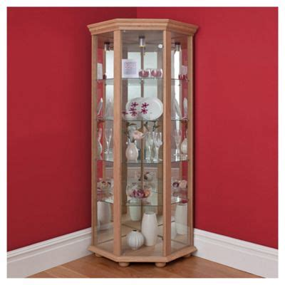 Corner Display Cabinet by Buy Henley 1 Door Corner Display Cabinet Oak Effect From