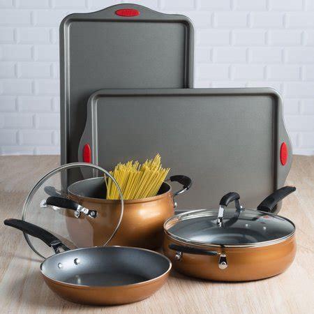 tasty  piece cookware set copper walmartcom