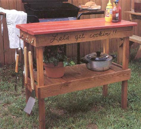 barbecue table outdoor wood plans