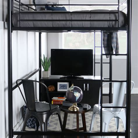 loft bed size walker edison steel size loft bed black bdolbl