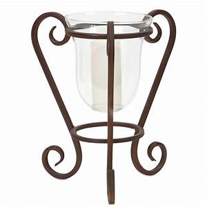 Hurricane Pillar Candle Holder with Metal Scrolled Base