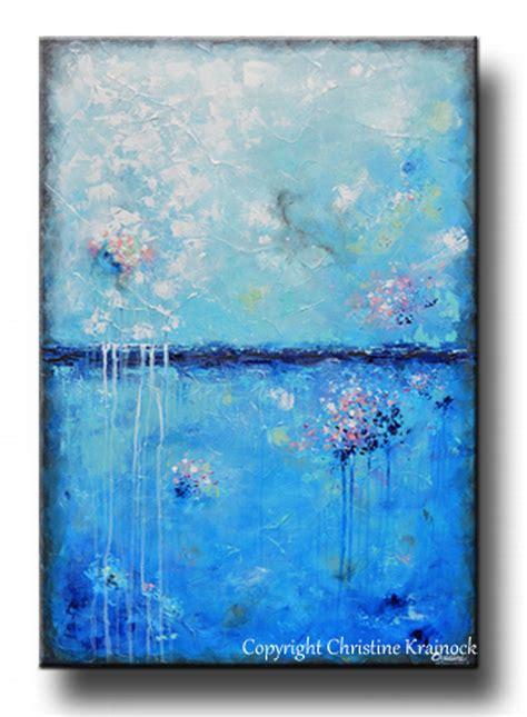 Original Art Blue Abstract Painting Aqua Blue Textured