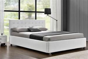 Lit 140 Blanc : lit coffre capitonn simili blanc 140 sleepa ~ Teatrodelosmanantiales.com Idées de Décoration