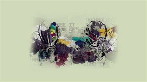 Daft Punk, watercolor, typography, simple background ...