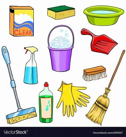 Cleaning Cartoon Supplies Clipart Vector Vectorstock Cliparts