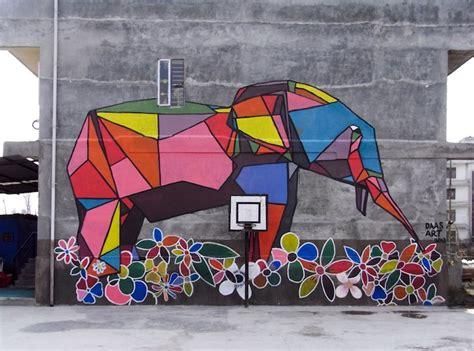 origami style street art brings color  nepal