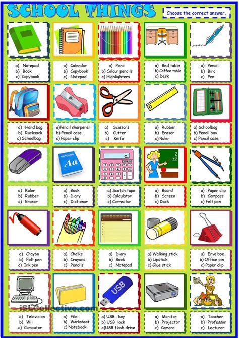 school   multiple choice activity esl printable