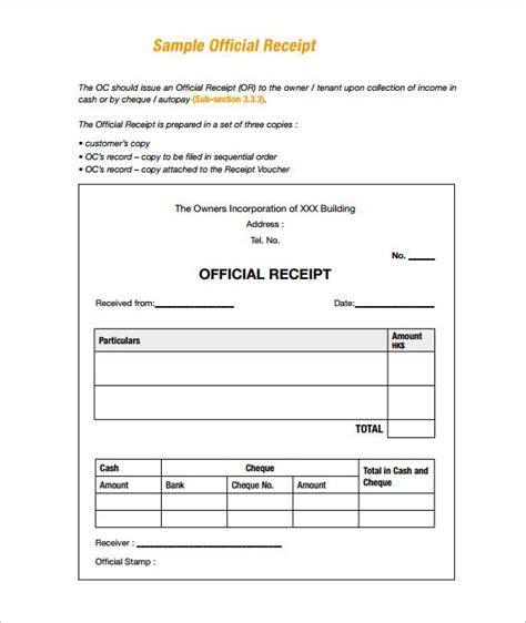 Sample Receipt , Receipt Template Doc For Word Documents