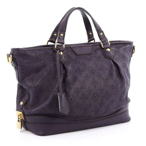 louis vuitton stellar handbag mahina leather pm  stdibs