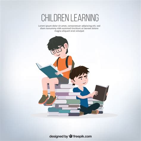 background  boys reading books vector