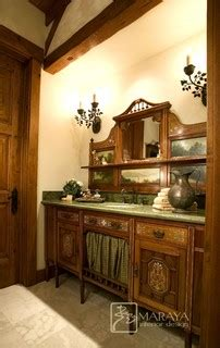 mountain ranch  antique vanity farmhouse powder
