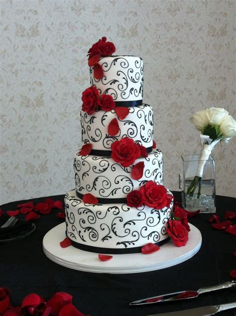 Elegant Red Black And White Wedding Cake Event And Photo