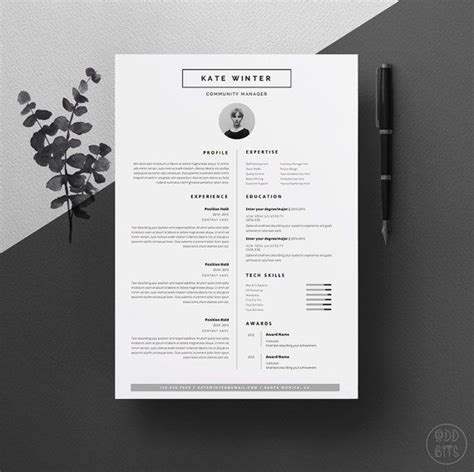 minimalist resume template cover letter icon set