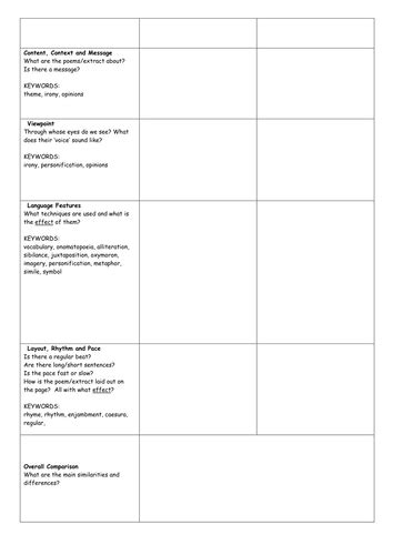 poetry comparison planning grid by rec208 teaching