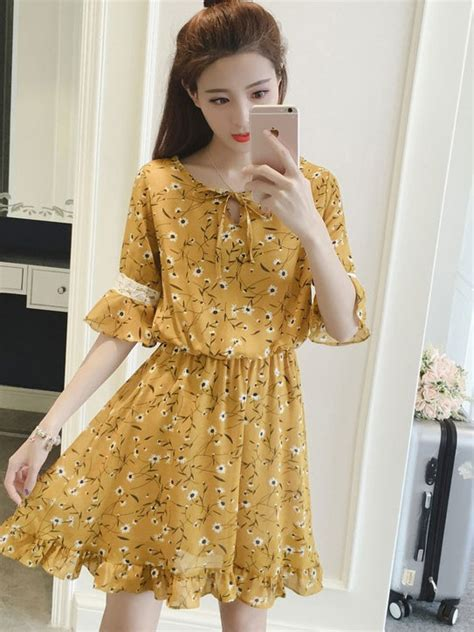 Plus Size Chiffon Short Dress Ulzzang Korean Fashion Half Sleeve Floral Summer Dresses 2018 ...