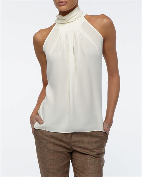 michael kors blouse michael kors georgette pleated blouse ivory in white lyst