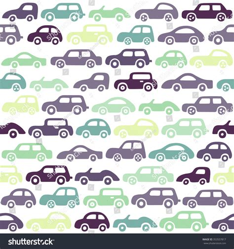 Doodle Cars Background Seamless Baby Boy Stock Vector