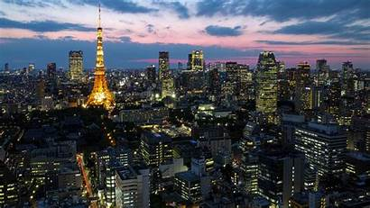 Japan Tokyo Lights Capital Dusk Skyscrapers Tower