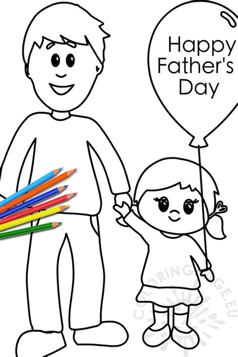 happy fathers day dad  daughter coloring page