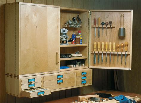wall hung tool cabinet woodworking project woodsmith plans