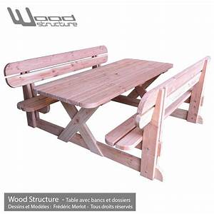 Table Et Banc En Bois : table avec bancs et dossiers table de jardin wood ~ Melissatoandfro.com Idées de Décoration