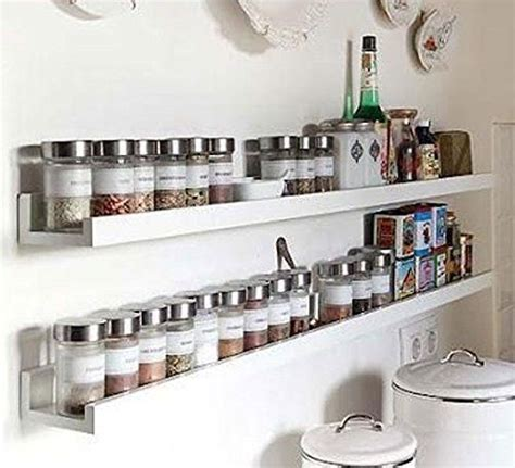 Spice Rack Wall Shelf by Wall Mount Spice Rack Floating Shelf Wood White 46 Inch