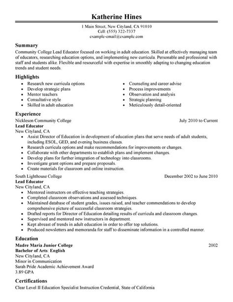 Educational Resume by 17 Education Resume Sles Letter