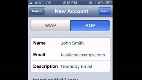 godaddy email on iphone how to set up pop email on an iphone or ipod touch
