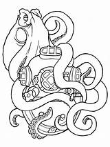 Coloring Squid Octopus Sisters Tattoo Gaddynippercrayons sketch template