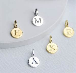 sterling silver initial letter disc charms by penelopetom With sterling silver initial letter charms