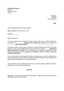 modele lettre résiliation assurance loi chatel 20 jours assurance auto resiliation exemple de lettre de r