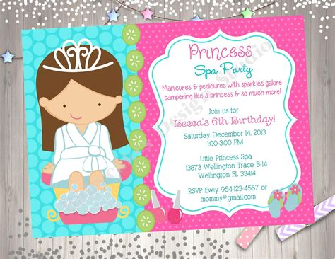 princess spa party invitation spa party invite princess