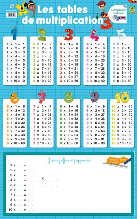 Posterardoise  Les Tables De Multiplication * Cahier D