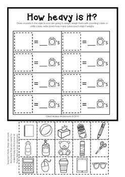 weight worksheets  standard measurement kindergarten