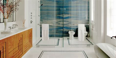 Stone Shower Surround by To Da Loos Magnificent Art Deco Ish Master Bathroom
