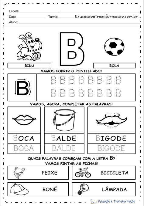 atividades a letra b para alfabetiza 231 227 o atividades educativas
