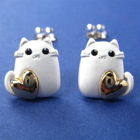 kitty cat animal earrings  silver  gold hearts
