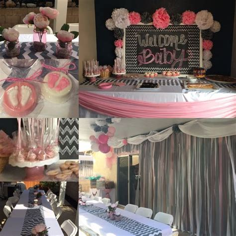 baby shower decorations grey chevron pink and white done by meeee baby shower