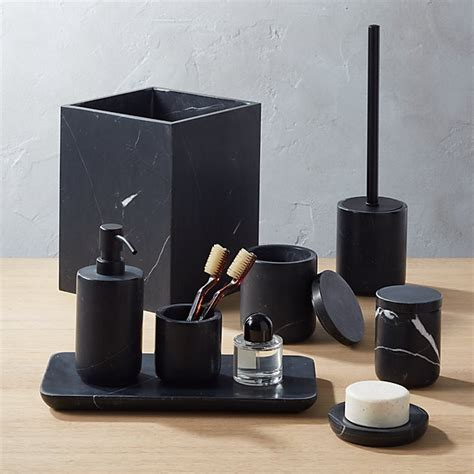 nexus black marble bath accessories cb2