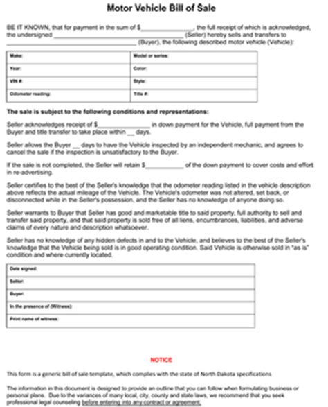north dakota car bill  sale form ws templates forms