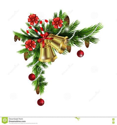 christmas corner decorations stock vector illustration