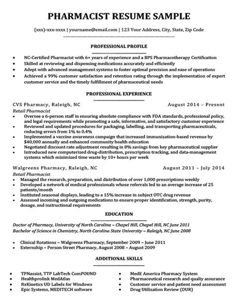 pharmacist resume sample templatedosecom