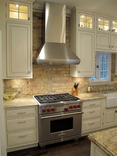 Antique Brick Backsplash Home Design Ideas, Pictures