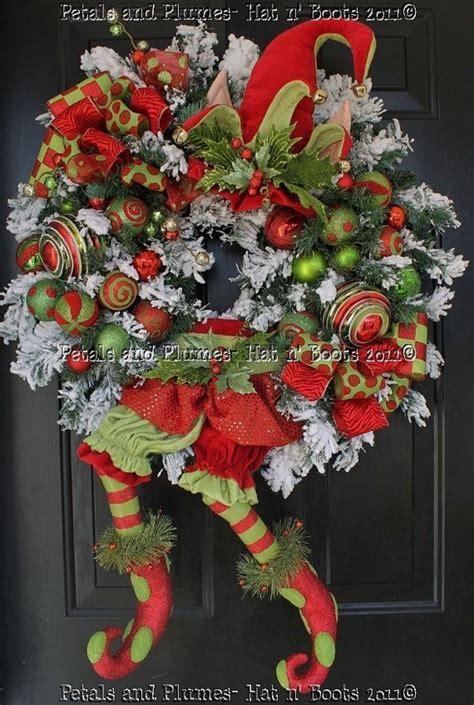 quot limey elf quot christmas wreath petals plumes hat n boots