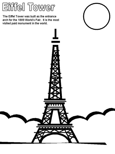 Printable Eiffel Tower France Coloring Pages