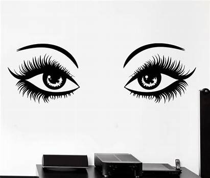 Eyes Woman Vector Illustration Lashes Decal Wall