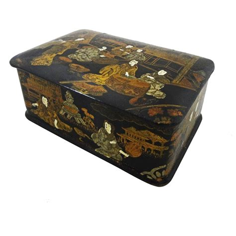 japanese black lacquer papier mache hinged lid rectangular
